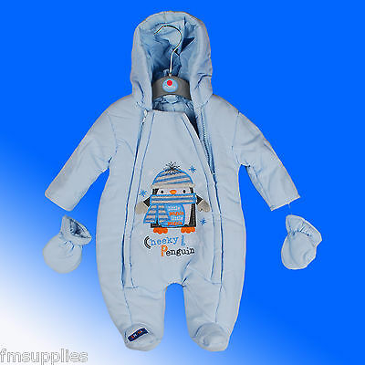 Baby Boy Boys All in One Snowsuit Pramsuit Sky Blue New Born Age 0-24 Months