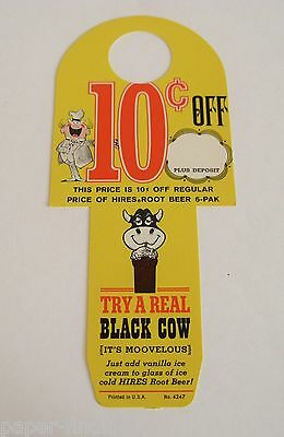 Vintage Hires Root Beer Bottle Topper, The Real Black Cow - Free Shipping