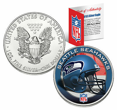SEATTLE SEAHAWKS 1 Oz American Silver Eagle $1 US Coin Colorized NFL LICENSED