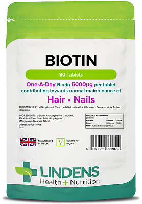 Biotin 5mg (5000mcg) hair skin nails (90 tablets) [Lindens 3879]