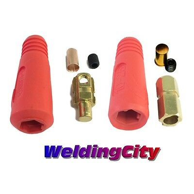 Welding Cable Quick Connector Pair (Red) 100-200A (#6-#4) 16-25 MM^2 (US Seller)
