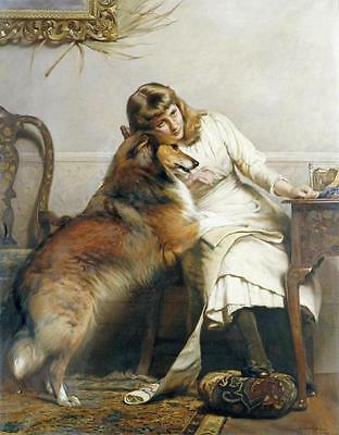 COLLIE ROUGH SABLE DOG with Woman on ONE 16 inch fabric square panel.