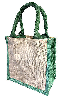 Jute Bags (green) 20 x 20 x 10cm REDUCED to clear! Shopping Crafting Gift Bag