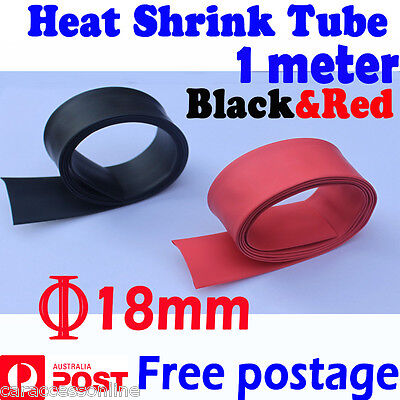 Heat Shrink tube Heatshrink tubing Sleeving Black+Red Dia=18mm 1meter  AU STOCK