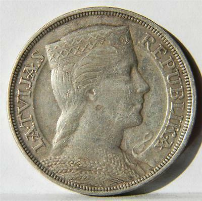 LATVIA: large 1931 silver 5 Lati, 3-yr type, 2nd yr of issue; toned AU
