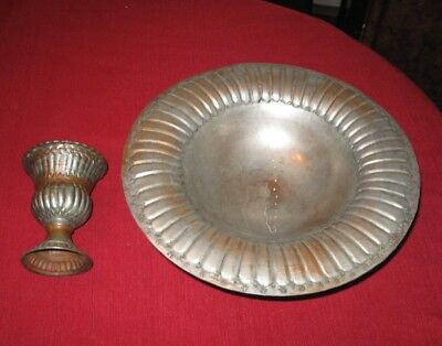 Bowl copper tinned old large bowl old one and vase lot of 2 items old