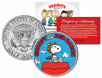 Peanuts SNOOPY vs. RED BARON JFK Half Dollar US Colorized Coin *Licensed*