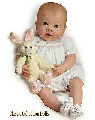 "Ashton Drake ""BUNNY HUGS"" LIFELIKE POSEABLE BABY GIRL DOLL - NEW- IN STOCK NOW!"