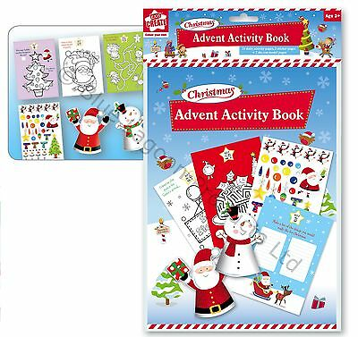 Childrens Christmas Advent Activity Book Seasonal Gift Stickers Santa Claus