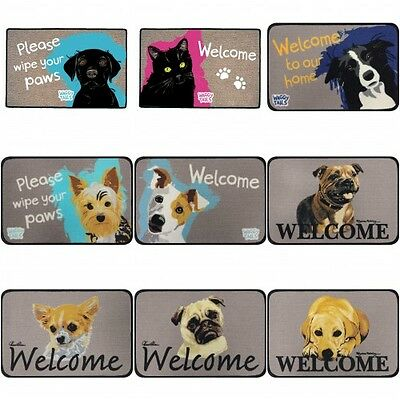 Waggy Tails Cats & Dogs Indoor Floor / Door Mat Great Gift for Animal Lovers