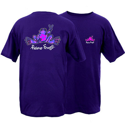 New Peace Frogs Purple Hibiscus Large  Adult T-Shirt
