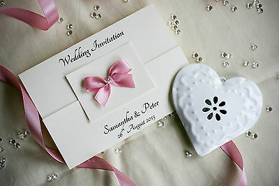 Wedding or Evening Invitations Gatefold with Satin bow and envelopes-Handmade