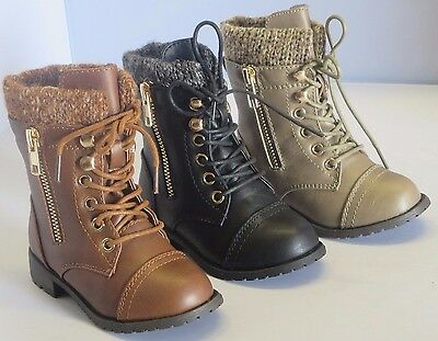 Girl Military Boots Lace-Up Boots Ankle Boots (mango31ka) TODDLER Black Tan
