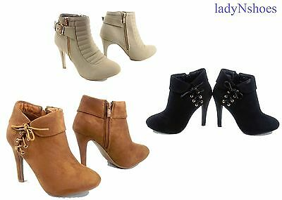 New Buckle Zipper Round Toe Stiletto High Heel Ankle High Booties Size 6 - 10