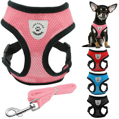 Soft Air Mesh Fabric Puppy Pet Dog Vest Harness and Lead Set for Small Breeds