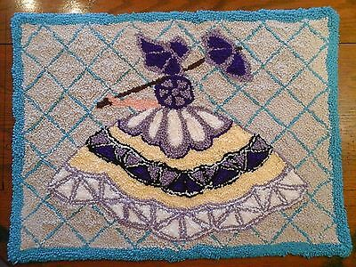 """28""""x34""""Punch Needle Rug/Wall """"Parasol Lady"""" PATTERN on Linen Burlap"""