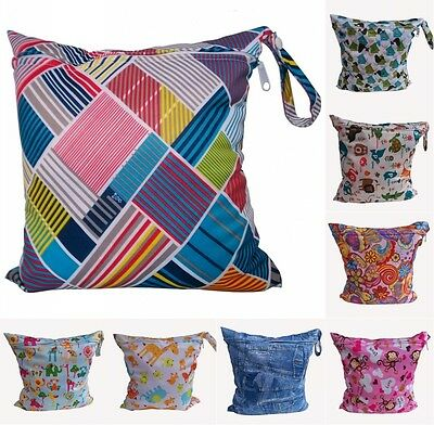 32choices Baby Kids Reusable Print Wet Dry Cloth Zip Waterproof Diaper Nappy Bag