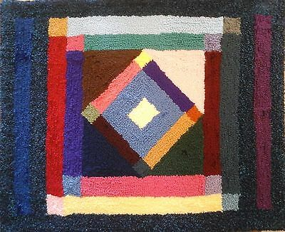 """28""""x34""""Punch Needle Rug/Wall """"Amish Squares"""" PATTERN on Linen Burlap"""