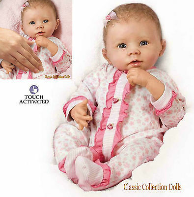 "Ashton Drake""KATIE"" INTERACTIVE LIFELIKE BABY DOLL-BREATHES-COOS-NEW ROOTED HAIR"