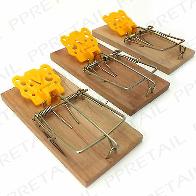 SET OF 3 TRADITIONAL WOODEN MOUSE TRAPS Classic Wood Reusable Pest Control Bait
