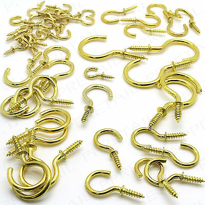 132Pc BRASS SCREW-IN CUP HOOKS SMALL-LARGE Shouldered Round Peg Picture Hanging