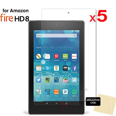 5x CLEAR Screen Protector Covers for Amazon Fire HD 8 Tablet (All Generations)