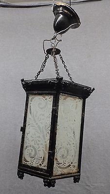 Antique Brass Tin Decorative Victorian Ceiling Light Stenciled Glass 4953-15