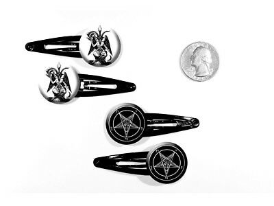 Bapohmet Knights Templar Deity Pagan Occult Pentagram Set of 4 Barrettes