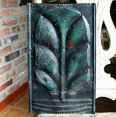 "Antique Roofing Tin Tile - 8.5"" x 14"" -- Black Paint with Dark Green Highlights"
