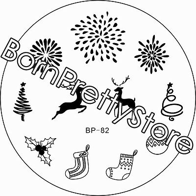 1pc Born Pretty Bp82 Xmas Deer Fireworks Nail Art Stamping Template