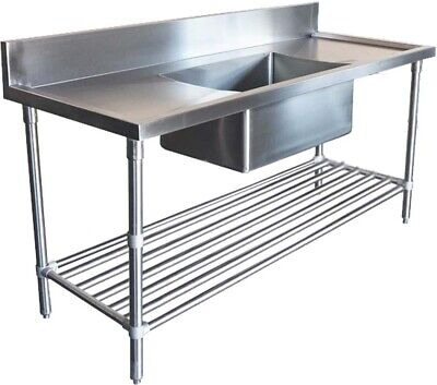 1500x600mm COMMERCIAL SINGLE MIDDLE BOWL KITCHEN SINK STAINLESS STEEL BENCH E0