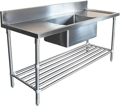 1700x600mm COMMERCIAL SINGLE MIDDLE BOWL KITCHEN SINK STAINLESS STEEL BENCH E0