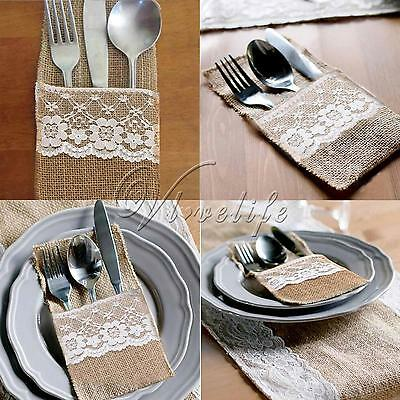 "4""x 8"" Hessian Burlap Lace Wedding Cutlery Holder Pouch Bag Rustic Favor Decor"