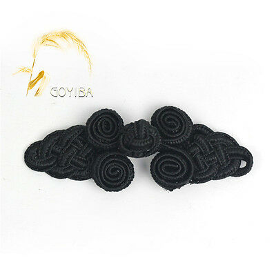 5 Pair Handmade Black Chinese Frogs Closure Knots Buttons Ribbon Fasteners Craft