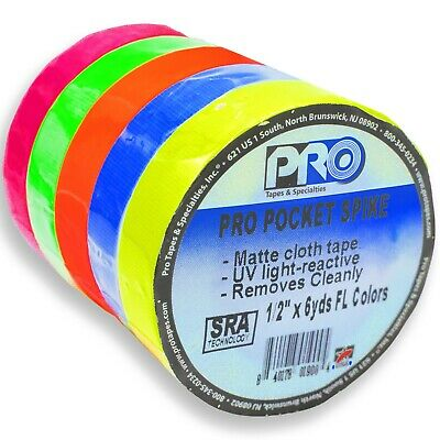 "5 x PRO GAFF NEON FLUORESCENT COLOURS 12mm (1/2"") x 5.4m (6 yards) FILM TV STAGE"