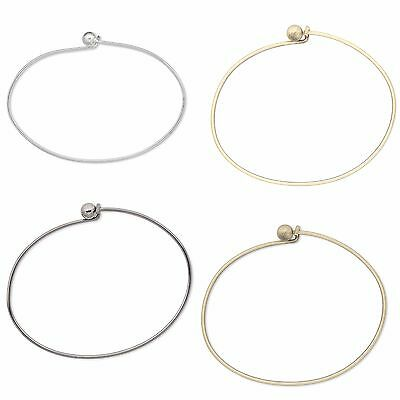Lot of 10 Add a Bead Wire Bangle Charm Bracelets With Twist Off Bead Clasps