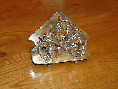 French Style Letter Rack Napkin or Note Pad Holder Antique Silver Ornate - Desk