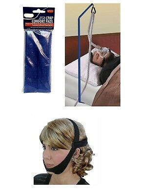 CPAP Accesories Mask Pads Hose Holder or Chin Strap Bed Tangle Tube Soft Support