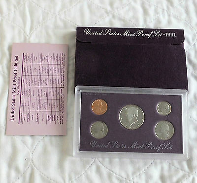 USA 1991 s 5 COIN PROOF YEAR SET - sealed/outer/coa
