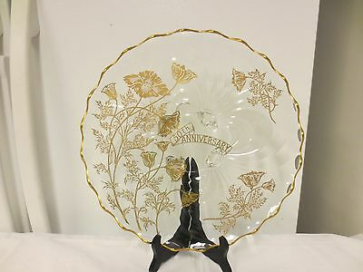 Silver City Glass 50th Anniversary Poppy Torte Serving Plate-4-Toed,Gold Trim