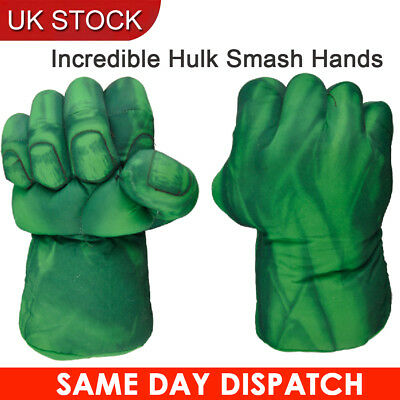 One Pair of Incredible Hulk Smash Hands Plush Punching Boxing fists Green Gloves