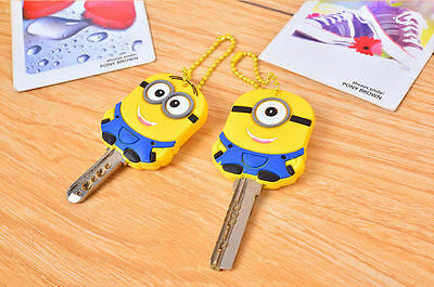 Despicable Me 2 Minion Key Top Head Cover Chain Cap Keyring Party Favor Gift