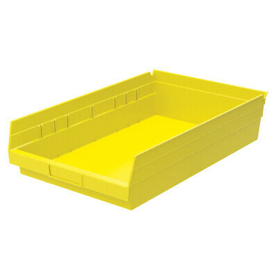Akro-Mils Shelf Bin 17-7/8D x 11-1/8W x 4H Yellow  12 pack