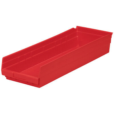 Akro-Mils Shelf Bin 23-5/8D x 8-3/8W x 4H Red  6 pack
