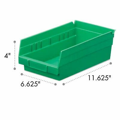 Akro-Mils Shelf Bin 11-5/8D x 6-5/8W x 4H Green  12 pack
