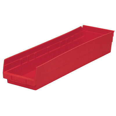 Akro-Mils Shelf Bin 23-5/8D x 6-5/8W x 4H Red  6 pack