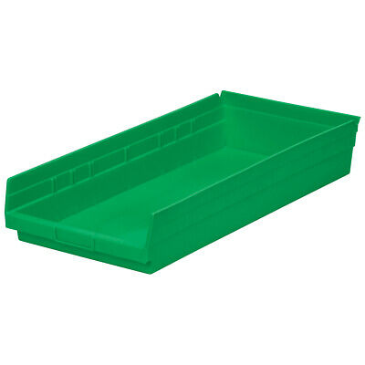 Akro-Mils Shelf Bin 23-5/8D x 11-1/8W x 4H Green  6 pack