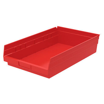 Akro-Mils Shelf Bin 17-7/8D x 11-1/8W x 4H Red  12 pack