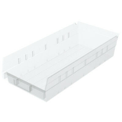 Akro-Mils Shelf Bin 17-7/8D x 8-3/8W x 4H Semi Clear  12 pack