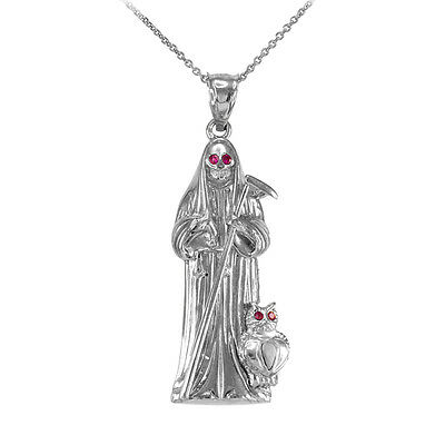 Sterling Silver Owl Santa Muerte Holy Death-Grim Reaper Red CZ Pendant Necklace